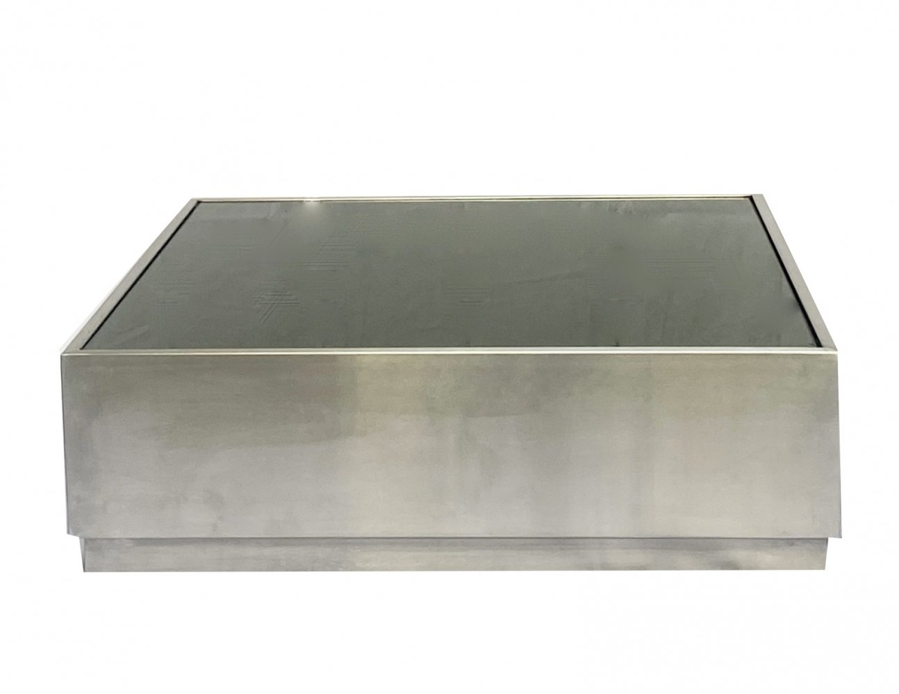 Coffee table in stainless steel & green glass, 1970s