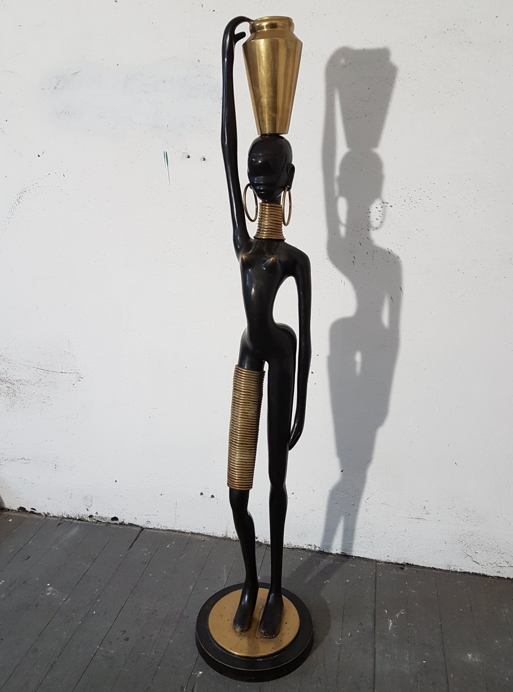 Life size bronze African Woman Sculpture from Austria, 1950s