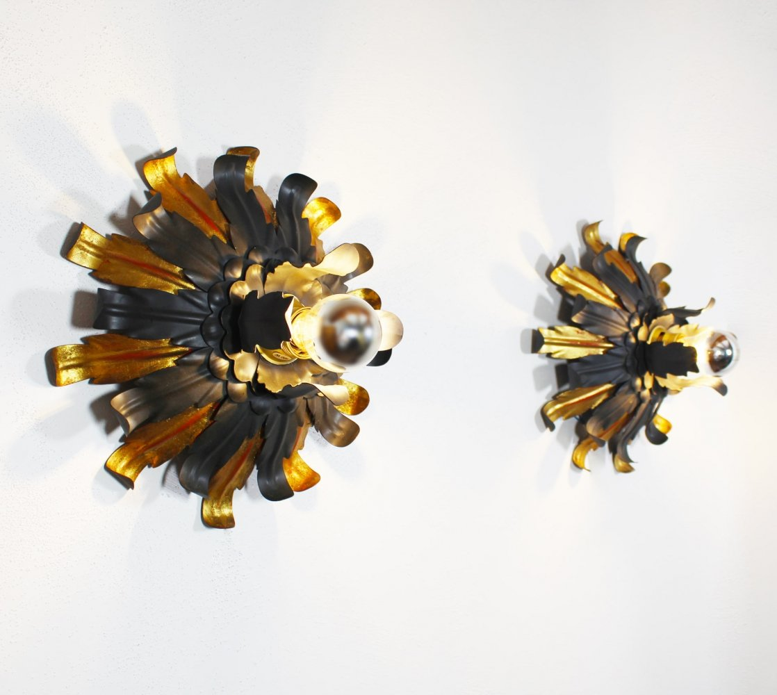 Pair of large Gilt Wall Lights by Banci Firenze, 1960