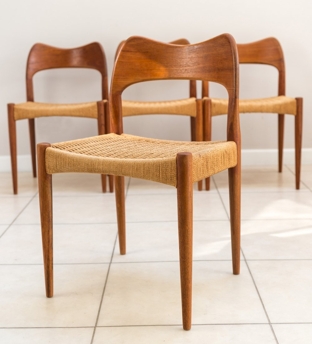 Set of 4 Dining Chairs by Arne Hovmand Olsen