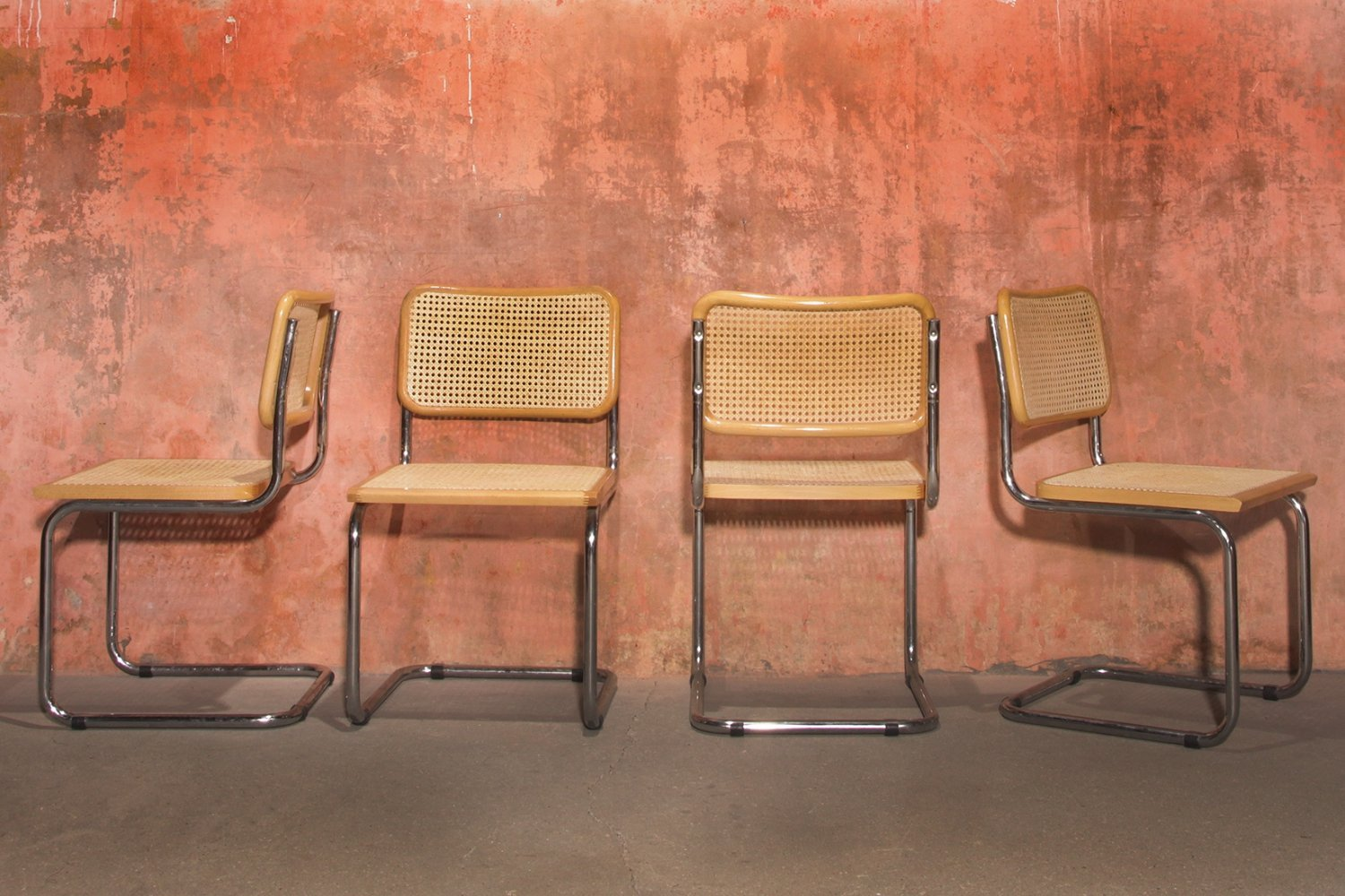 Chrome Tube Webbing Dining Chairs, Italy 1990s
