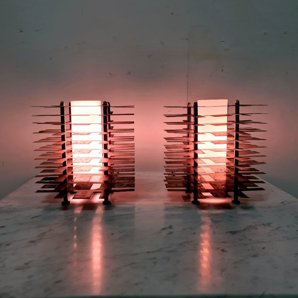 Tesla style steel table lamps with glass diffuser, France 1960s