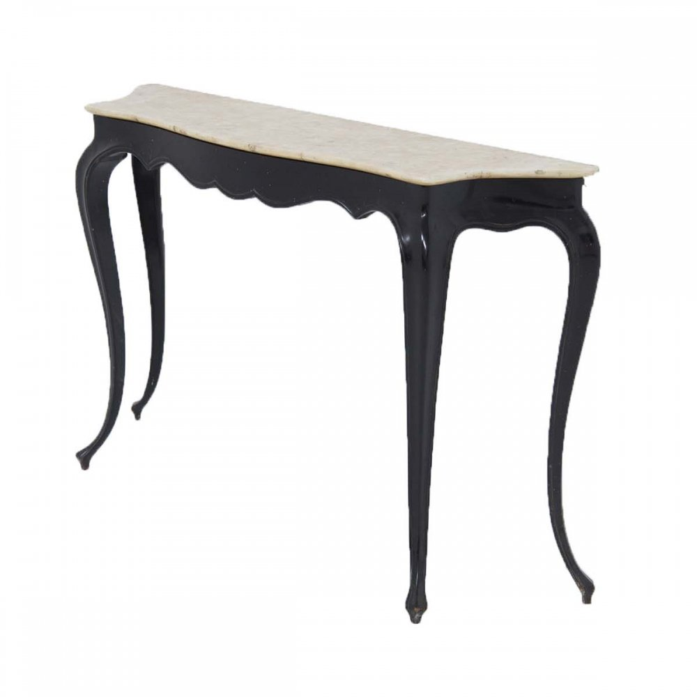 Italian Vintage Console in Marble & Wood by Carlo Enrico Rava