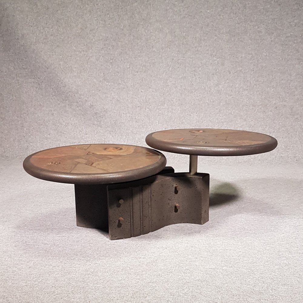 Brutalist coffee table concrete with naturestone from Fedam, 1980s