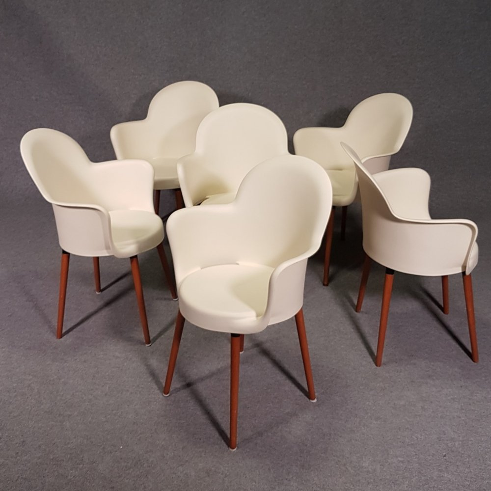 Set 6 Sintesi Gogo chairs with wooden legs by Marcello Ziliani, 1990s