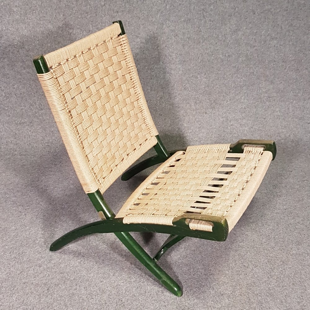 Green folding rope lounge chair by Ebert Wels, 1960s