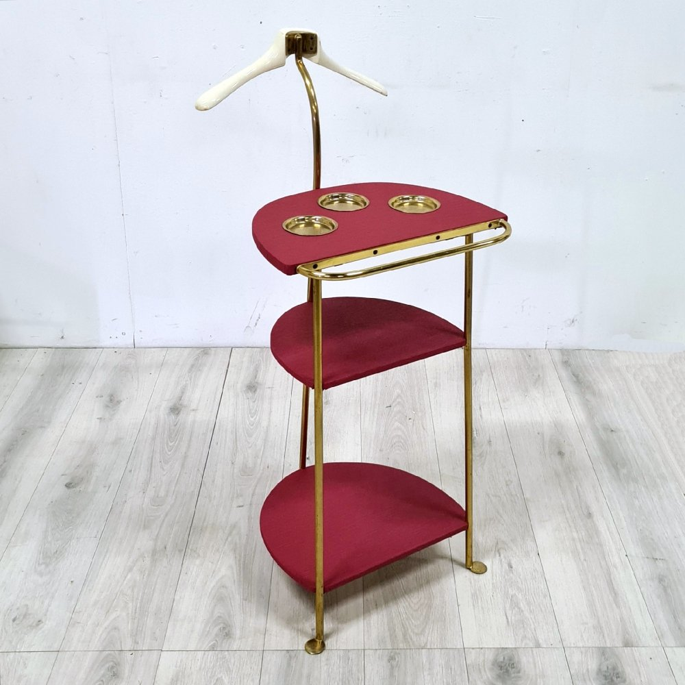 Mid century brass & wood valet stand or dress boy, 1960s