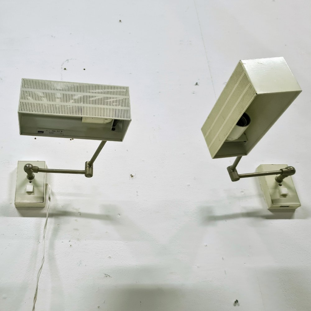 Set of 2 minimalist articulated wall lamps by BUR luchten, Germany 1950s