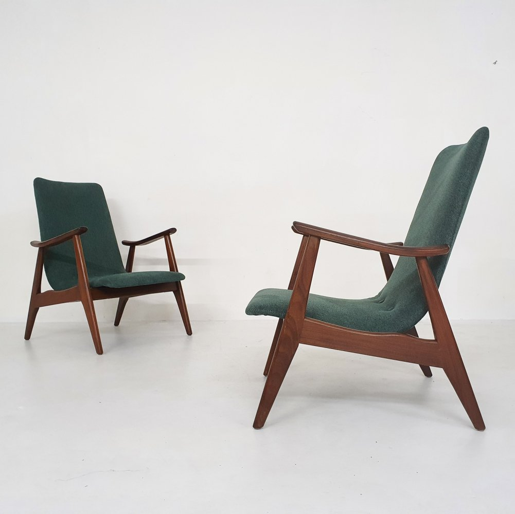 Set of two Louis van Teeffelen for Webe lounge chairs, The Netherlands 1960