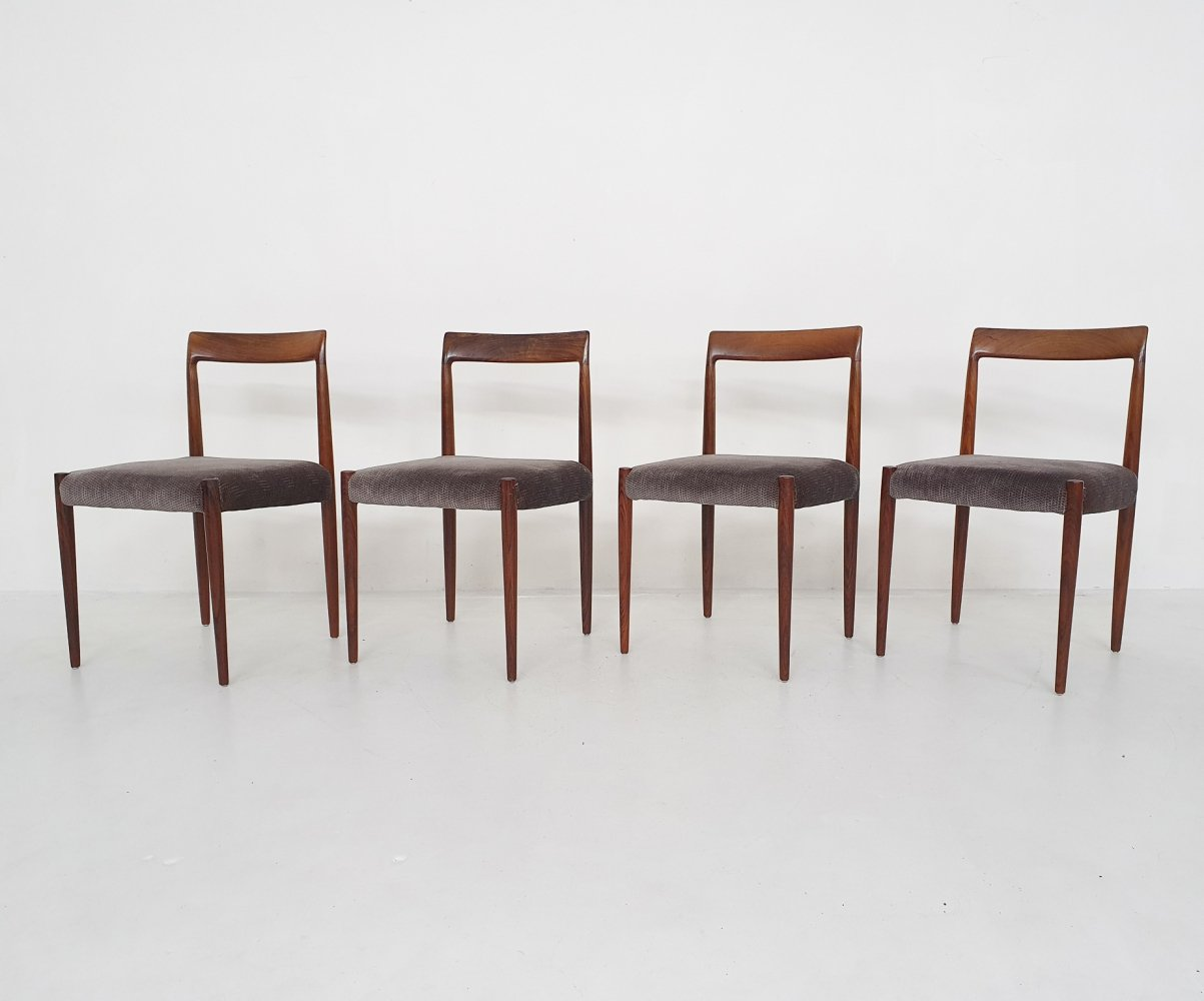 Set of four rosewood dining chairs by Lubke, Germany 1960