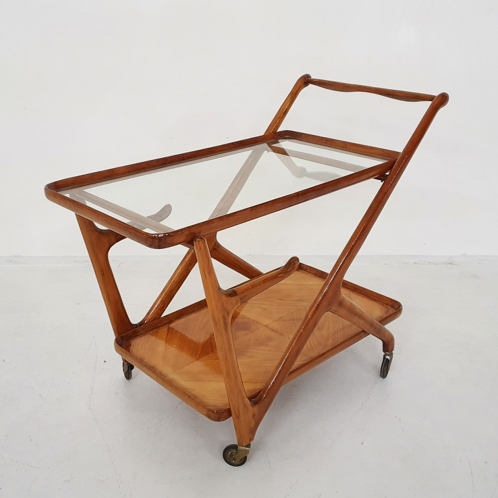Ceder wooden bar cart / trolley by Cesare Lacca, Italy 1950