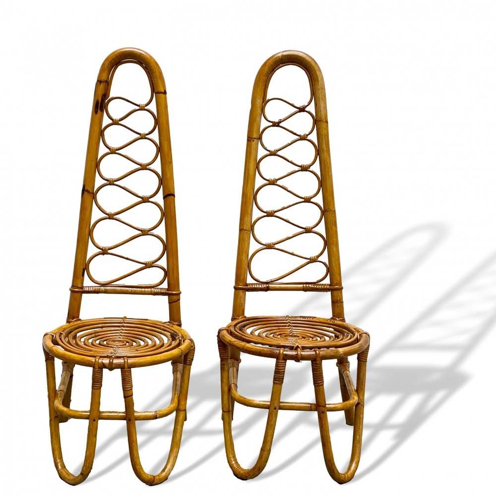 Pair of Vintage Italian Bamboo & Rattan High Back Chairs, 1960s