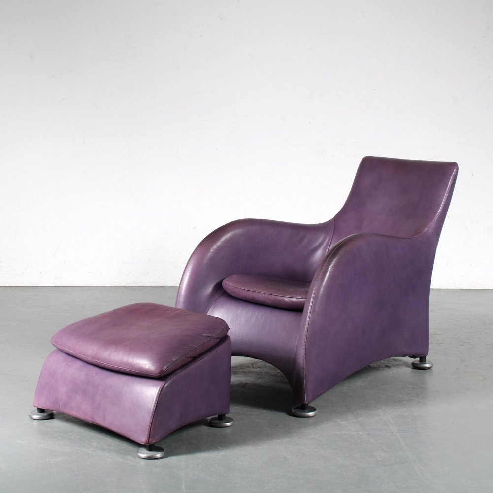 1990s Lounge chair with ottoman by Gerard van den Berg for Montis, Netherlands