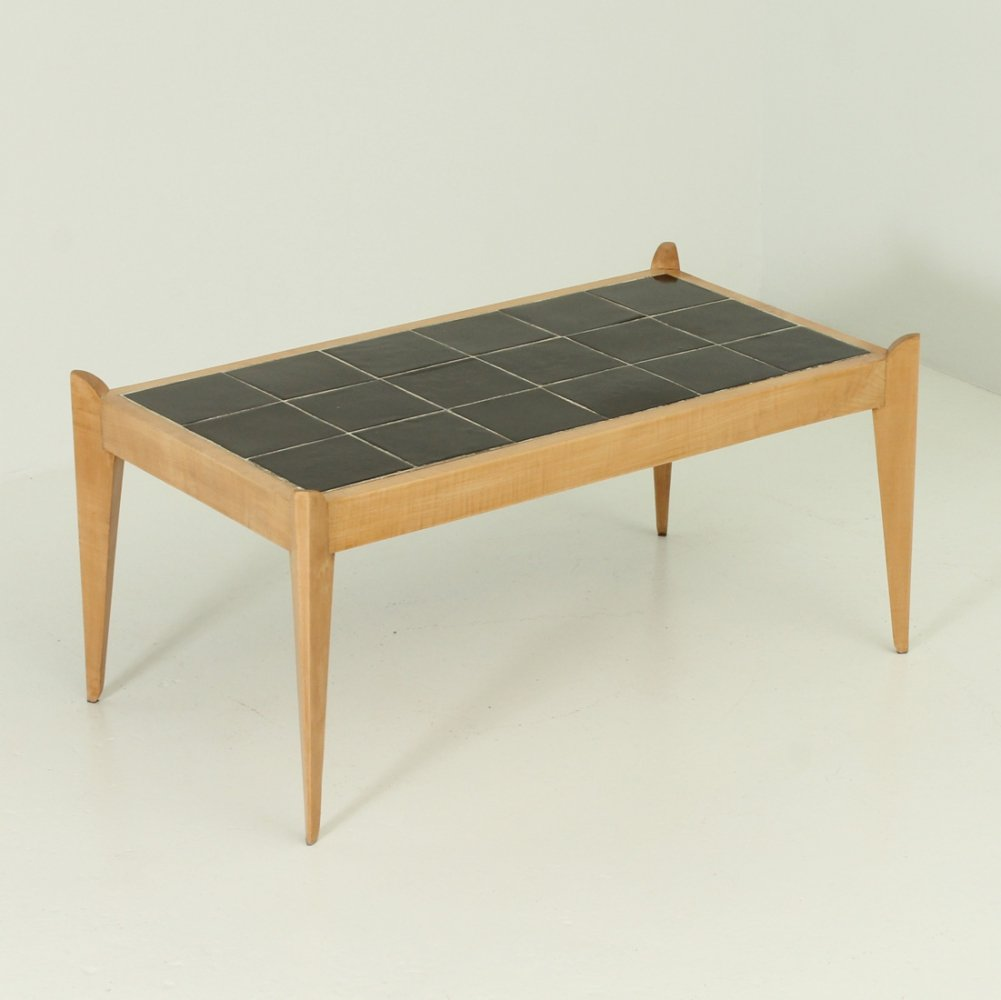 French Sycamore Coffee Table with Inlaid Ceramic, 1940