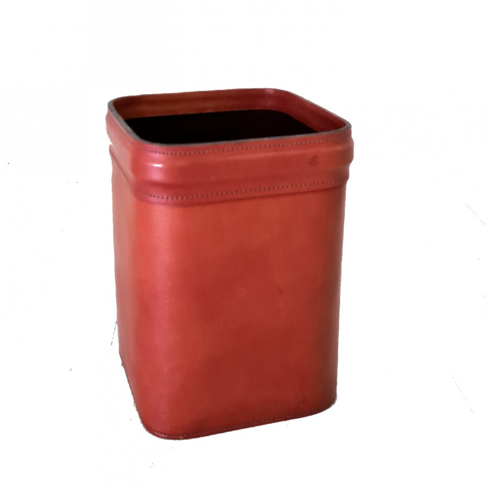Stitched leather waste paper bin, France 1960s