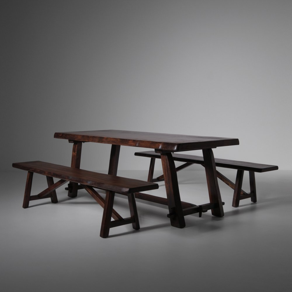 Sculptural table & benches in stained Elm, 1950s
