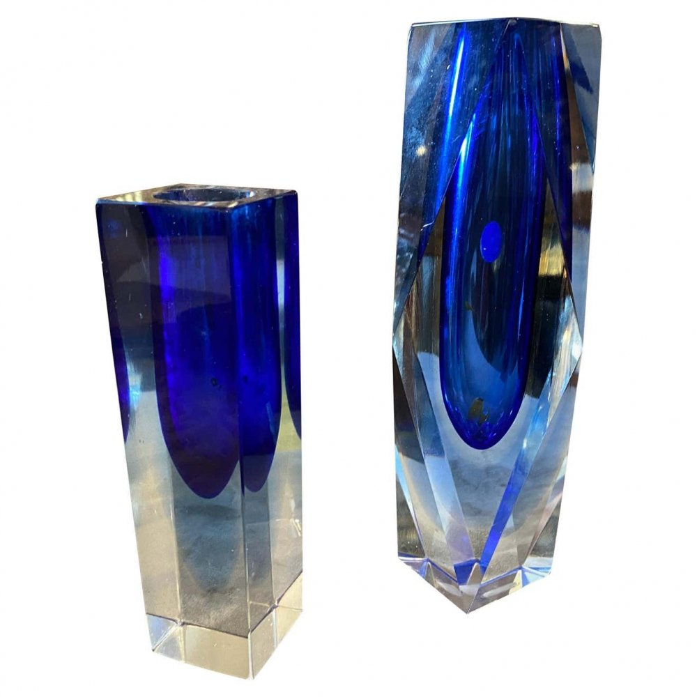 1970s set of Two Mid-Century Modern Blue Murano Glass Vases by Seguso