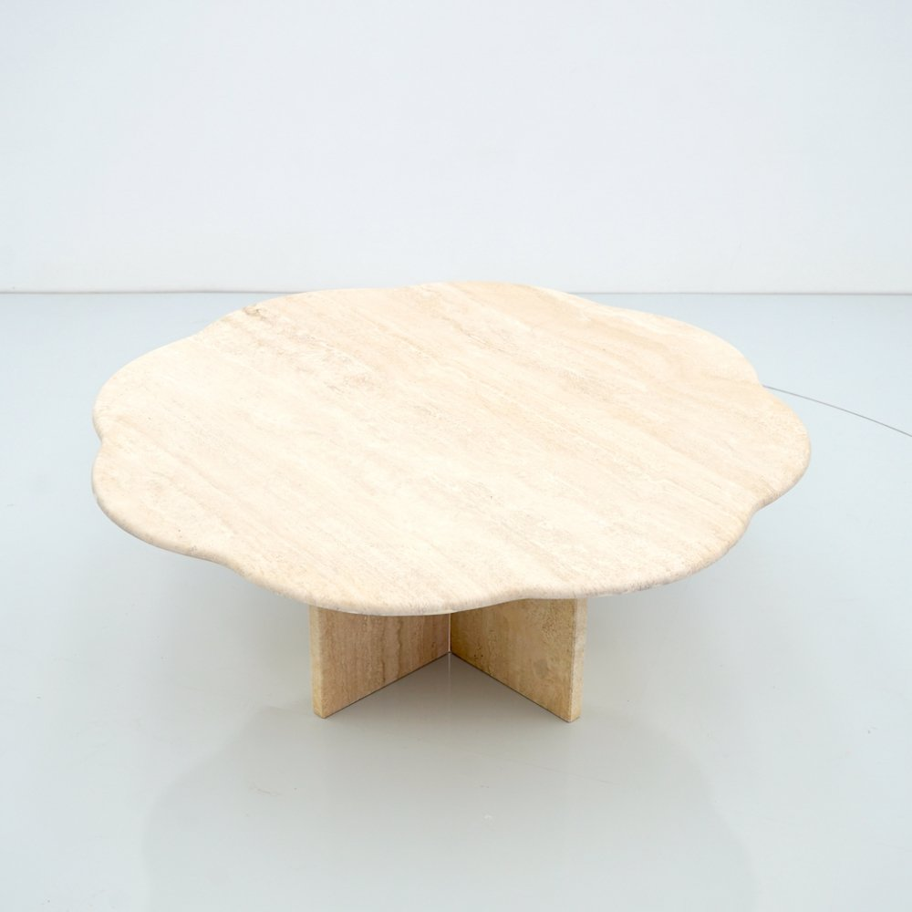 Flower Travertine Coffee Table, Italy 1970s