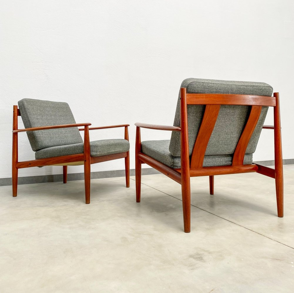 Set of 2 Danish Teak Easy Lounge Chairs by Grete Jalk for France & Søn, 1960s