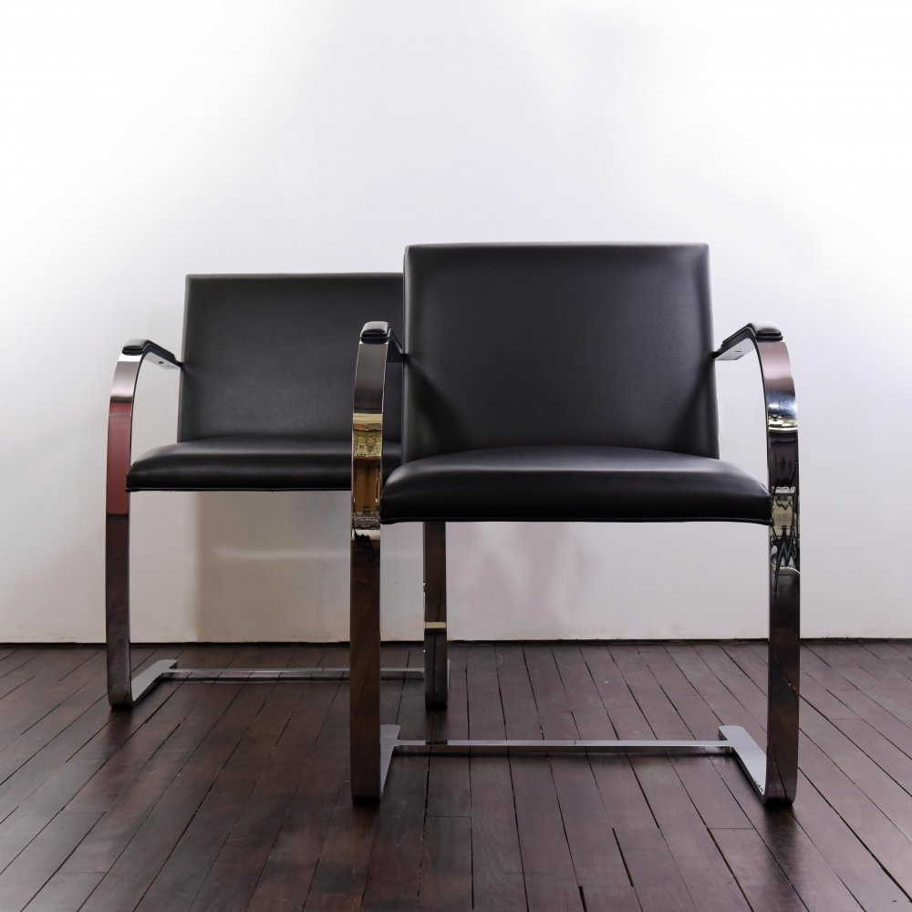 Set of 2 Brno Flat Bar Chairs by Mies van der Rohe, 1990s
