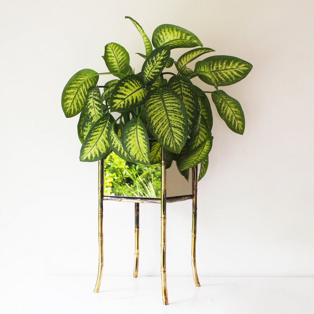 Brass Faux Bamboo Planter by Maison Bagues, 1960