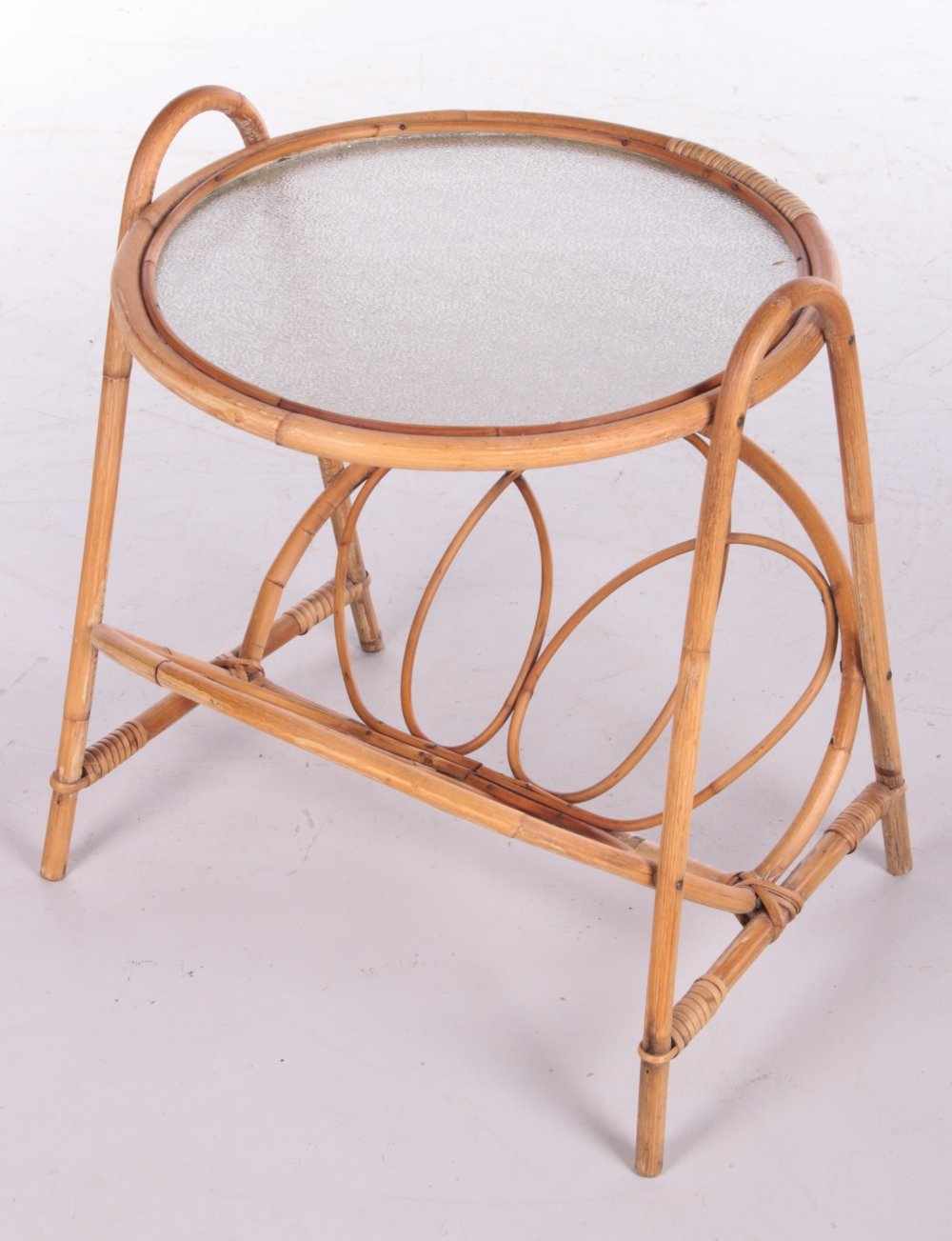 Round Bamboo side table with storage racks, Denmark 1960s