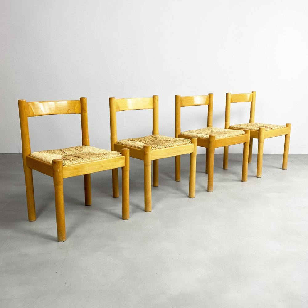 Set of 4 Vintage Carimate Chairs by Vico Magistretti for Cassina, c.1960