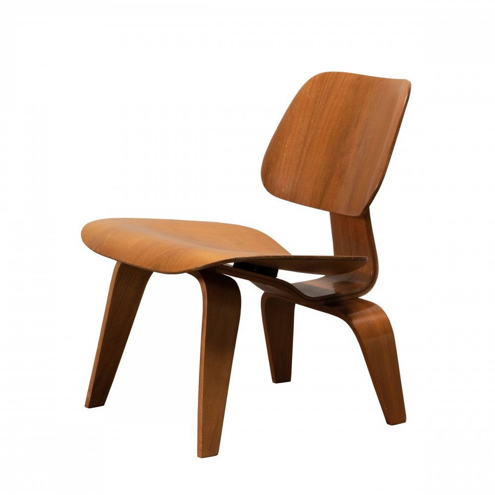 Vintage Eames for Herman Miller LCW lounge chair in walnut plywood, 1950s