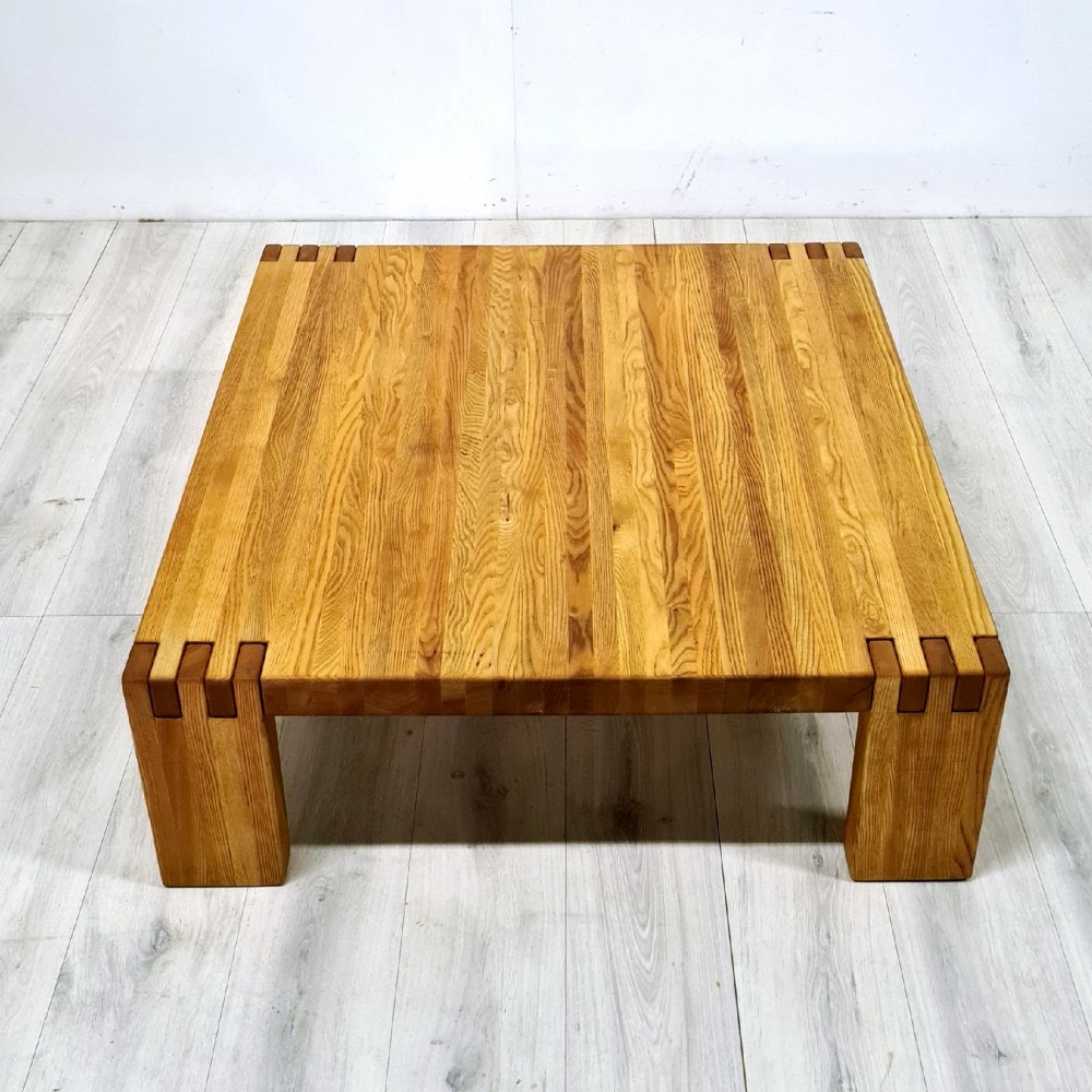 Solid oak coffee table with wood in wood joints by COR, Germany 1970s