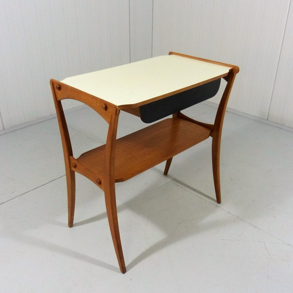 Teak side table with drawer, 1950