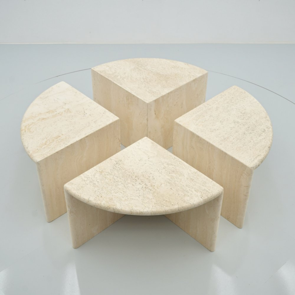 Set of Four Travertine Side Or Coffee Tables, Italy 1970s