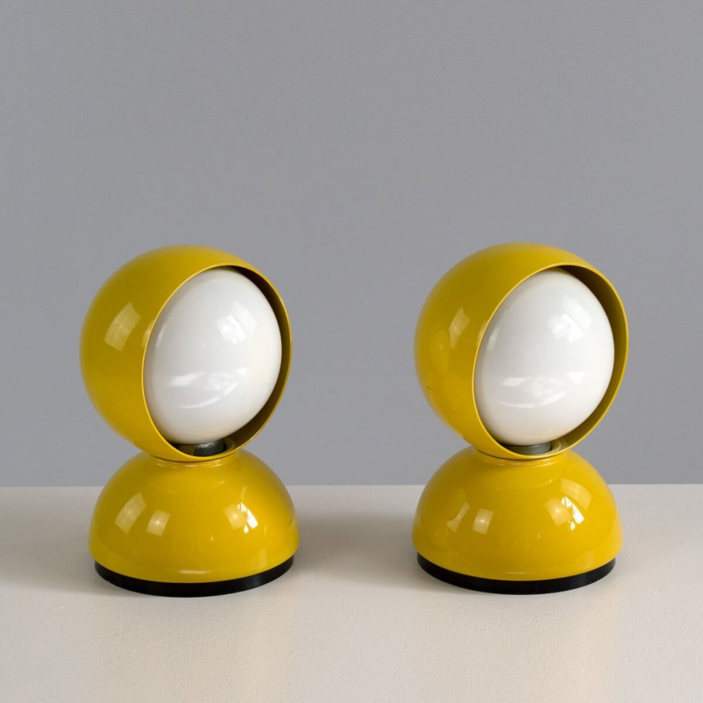Pair of yellow Artemide Eclisse Lamps by Vico Magistretti, early 70s
