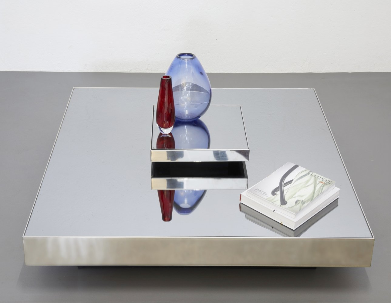 Mirrored glass & stainless steel coffee table by Giovanni Ausenda for NY Form, 1970s