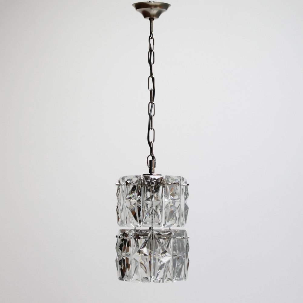 German Kinkeldey 2-tier pendant with 18 faceted crystals & two light sources