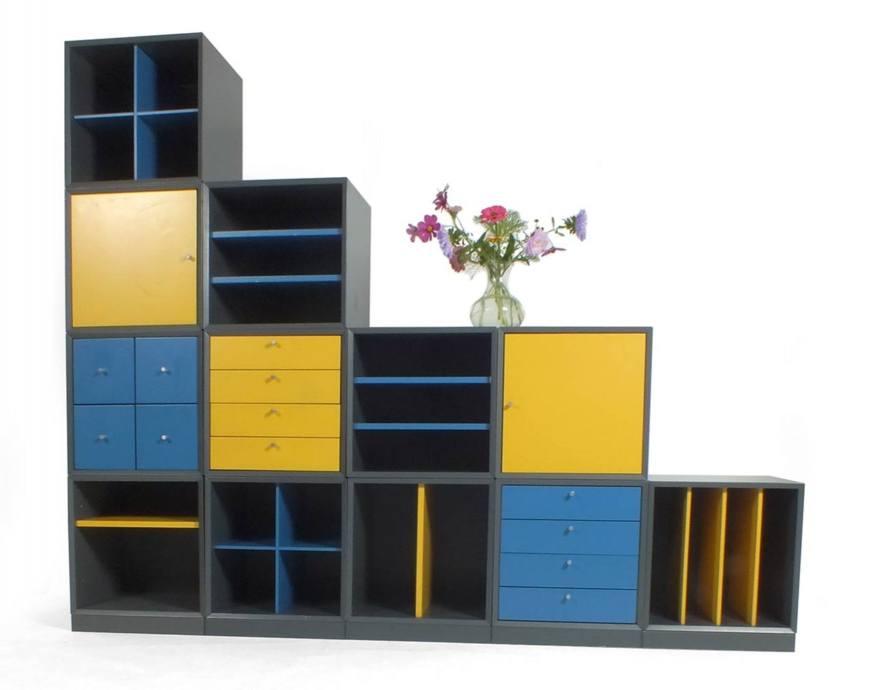 Yellow & blue Q-bus cabinet by Cees Braakman for Pastoe, 1960s
