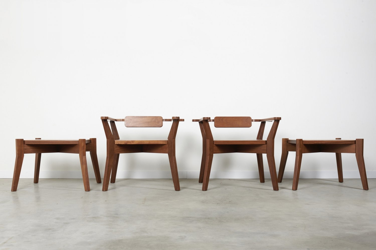Set Brutalist style armchairs with stools / side tables, 1969s