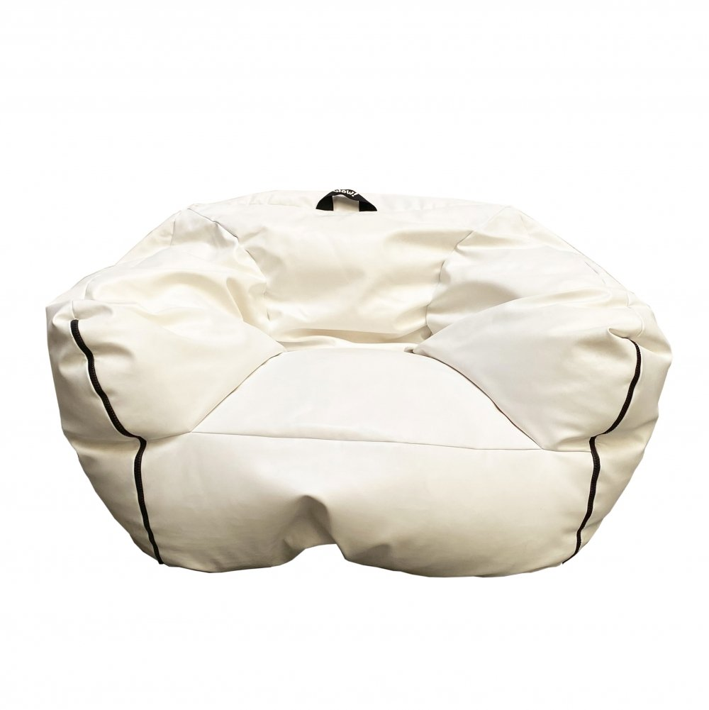 Pouf armchair in white eco-leather with black side hinges, 1980s