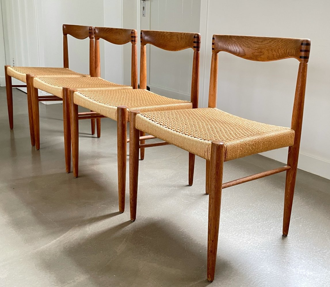 Set of 4 dining chairs, H.W. Klein for Bramin, Denmark 1950s