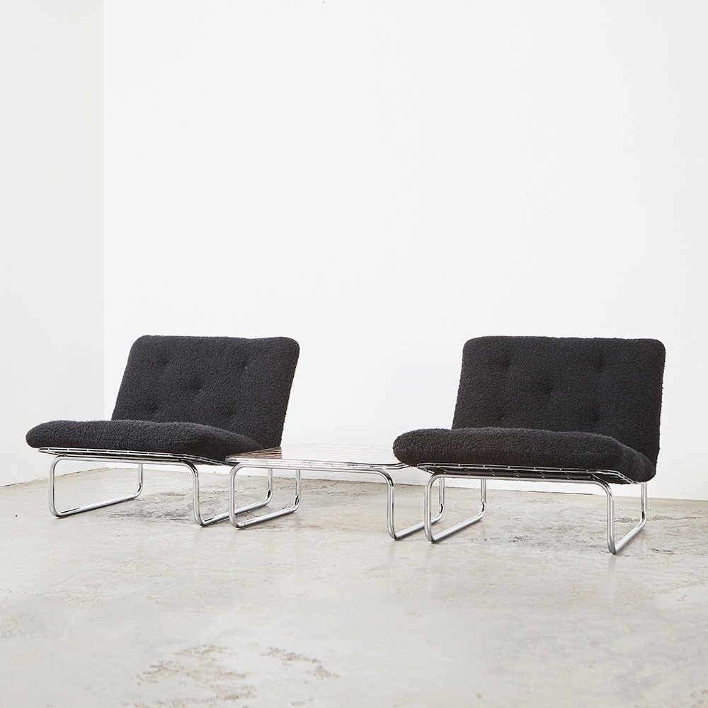 Kho Liang Ie Pair of 656 Lounge Chairs + Coffee Table for Artifort, 1970