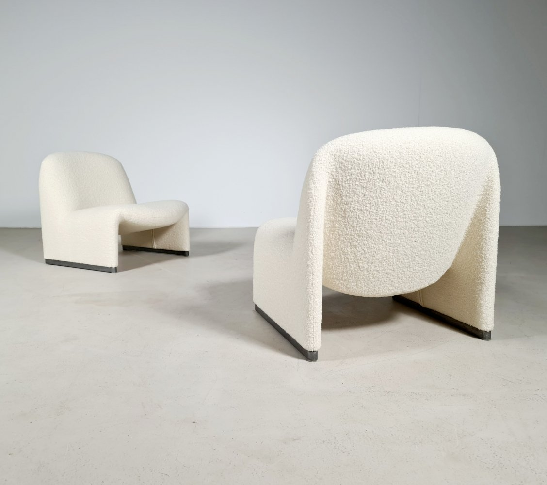 Alky chair in bouclé by Giancarlo Piretti for Castelli/Artifort, 1970s