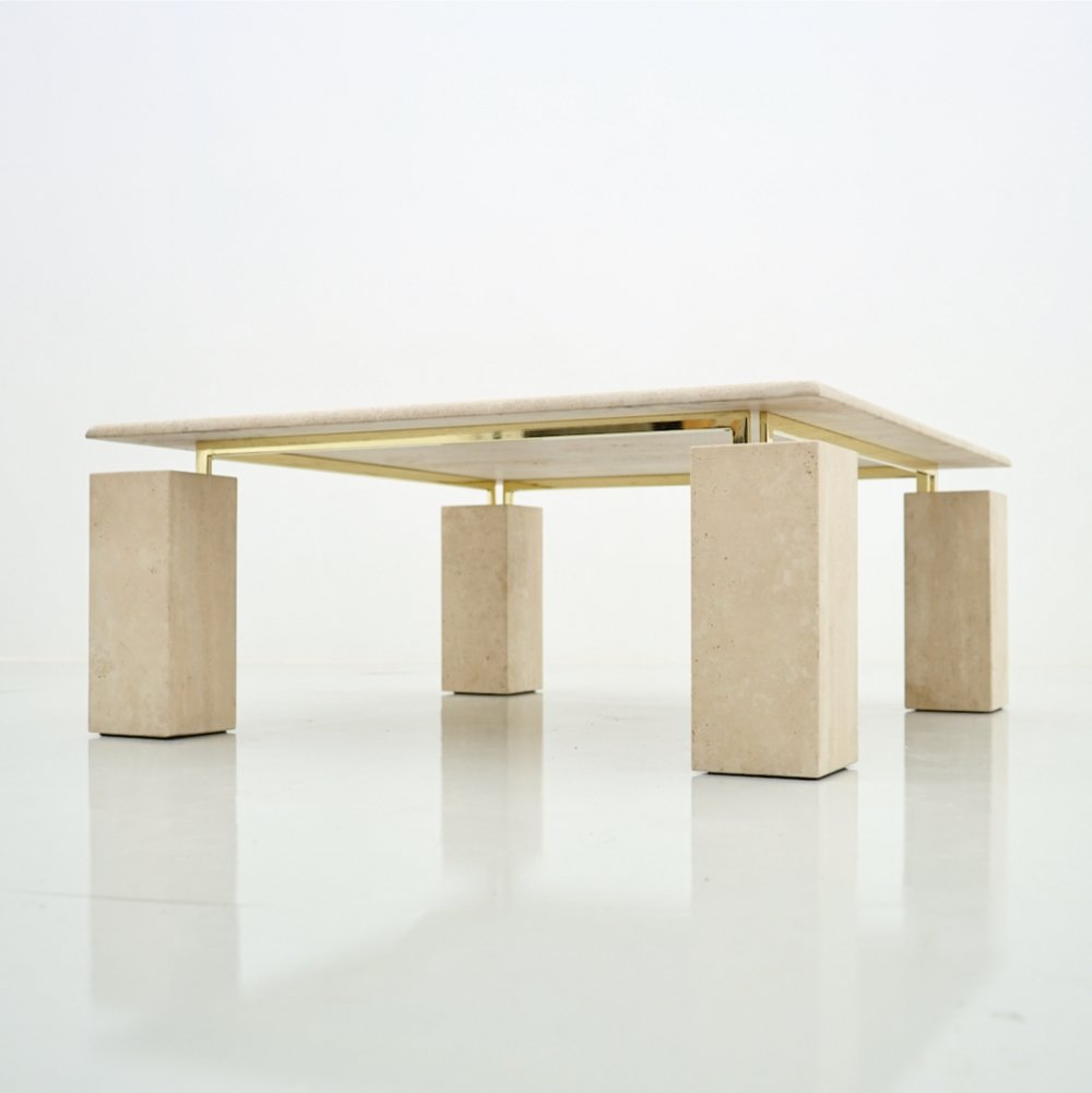 Square Coffee Table in Italian Travertine with Floating Table Top, 1970s