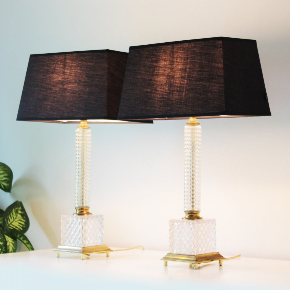Set of two Brass & Glass column Table Lamps by Massive, Belgium 1970