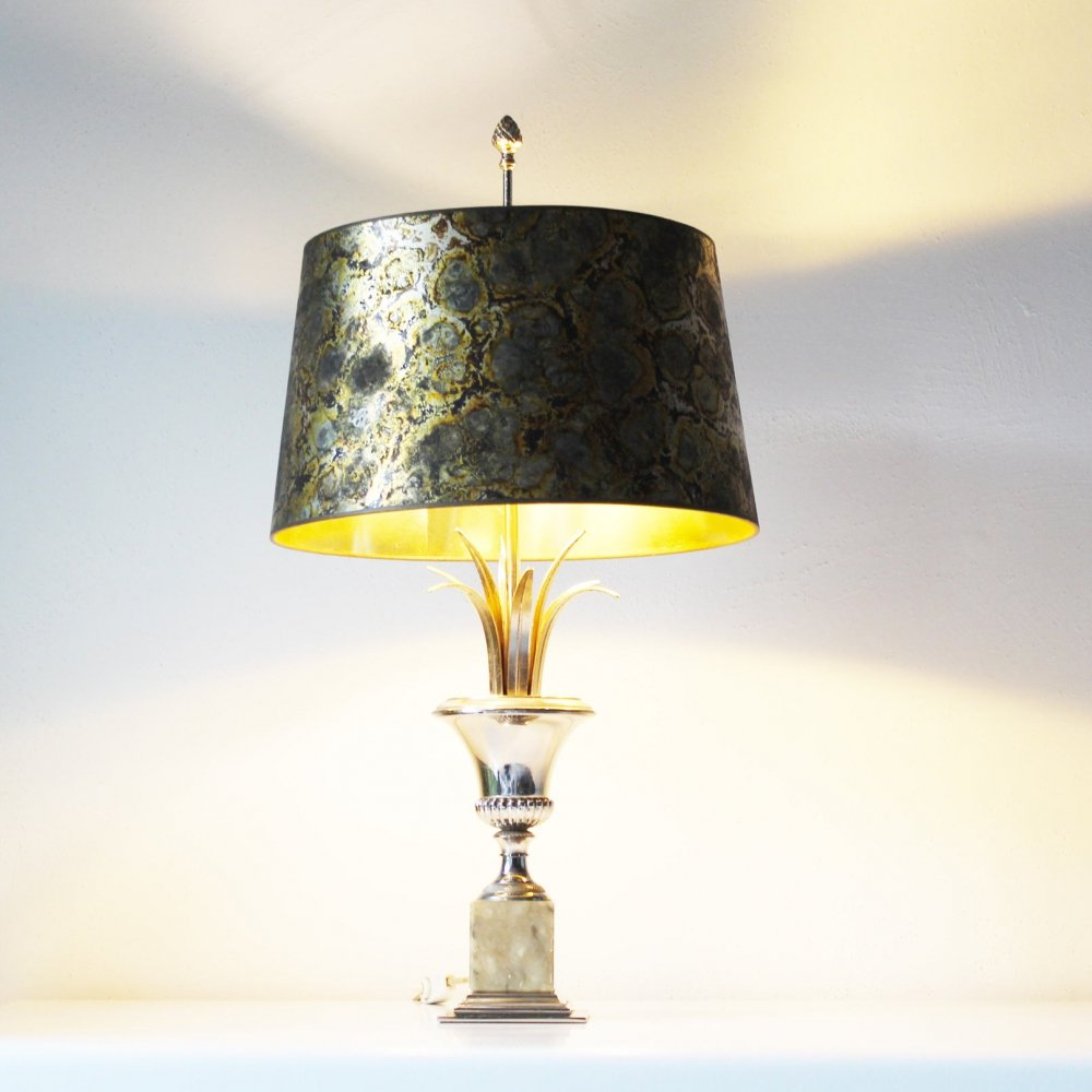 Brass & Onyx Palm table lamp by SA Boulanger, Belgium 1970