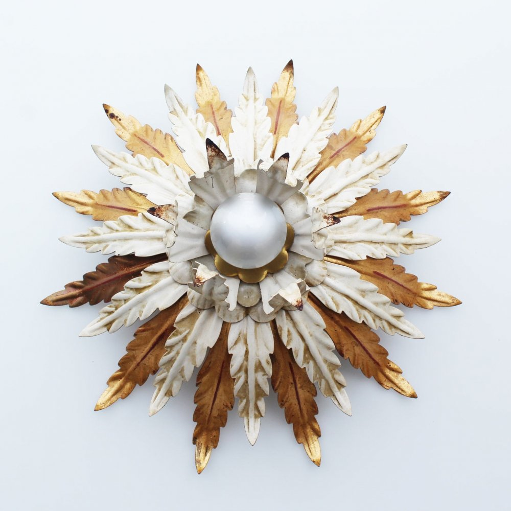 Large Gilt Florentine Wall or Ceiling Light, Italy 1960