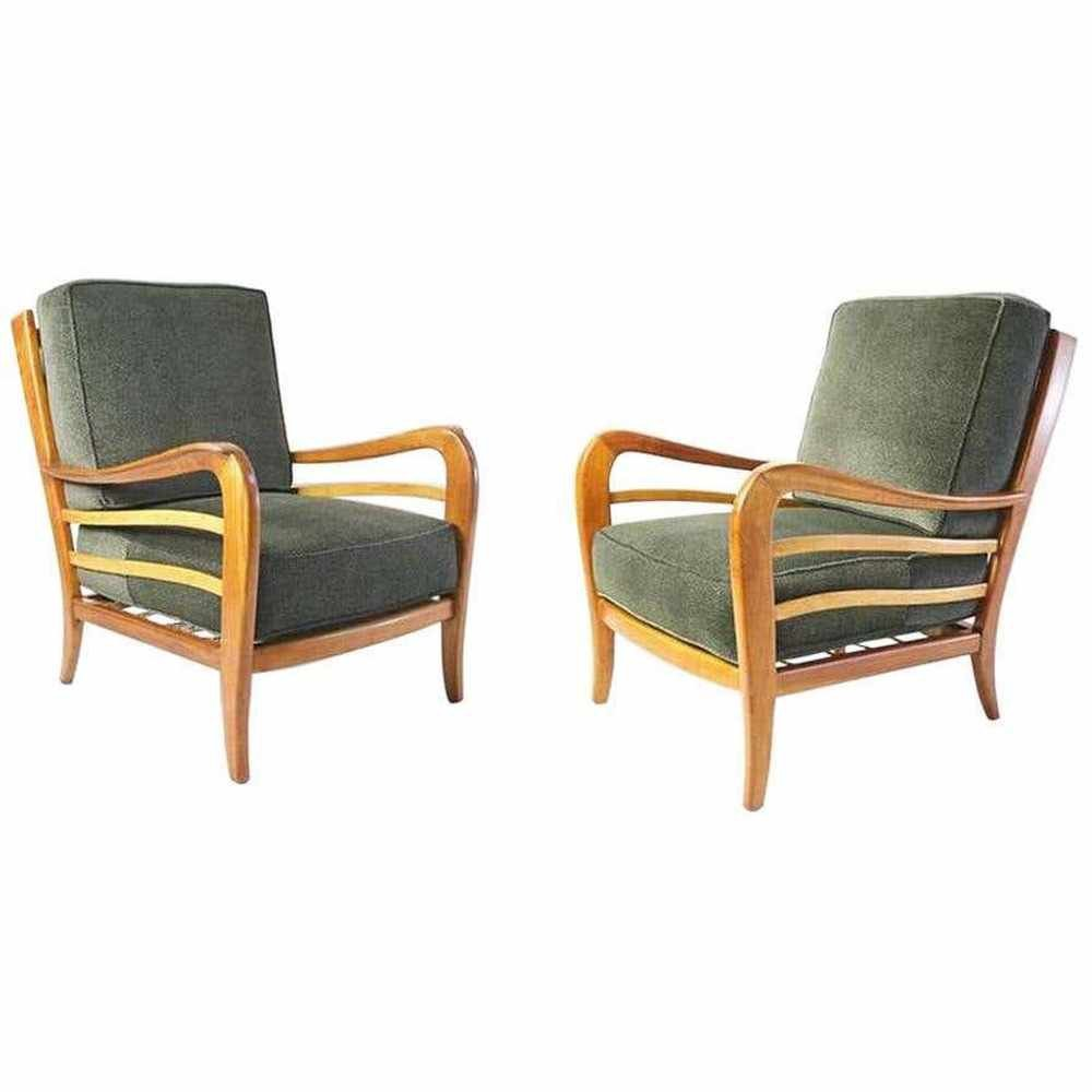 Midcentury Pair of Armchairs in Cherry & Maple by Paolo Buffa, Italy