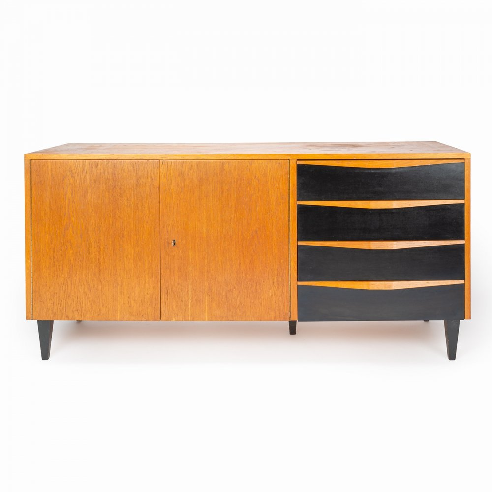 Wooden cabinet with black laminate drawers, 1950s