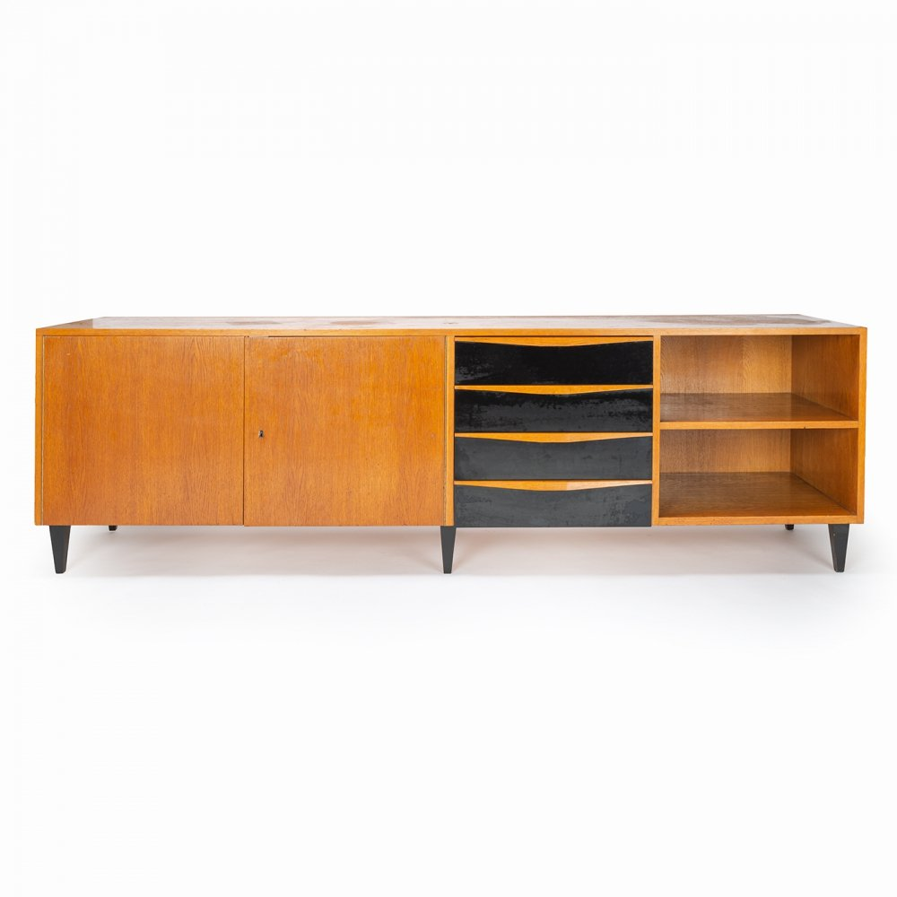 Wooden sideboard with black laminate drawers, 1950s