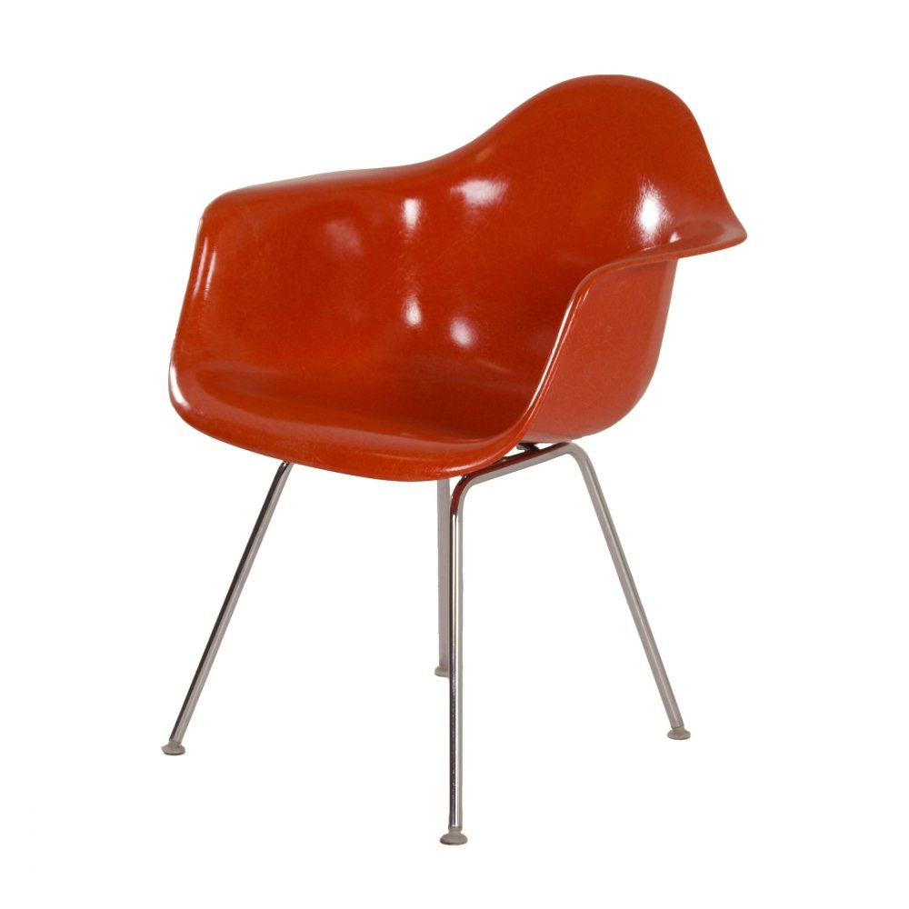 Orange DAX Armchair by Charles & Ray Eames for Fehlbaum - Herman Miller, 1970s