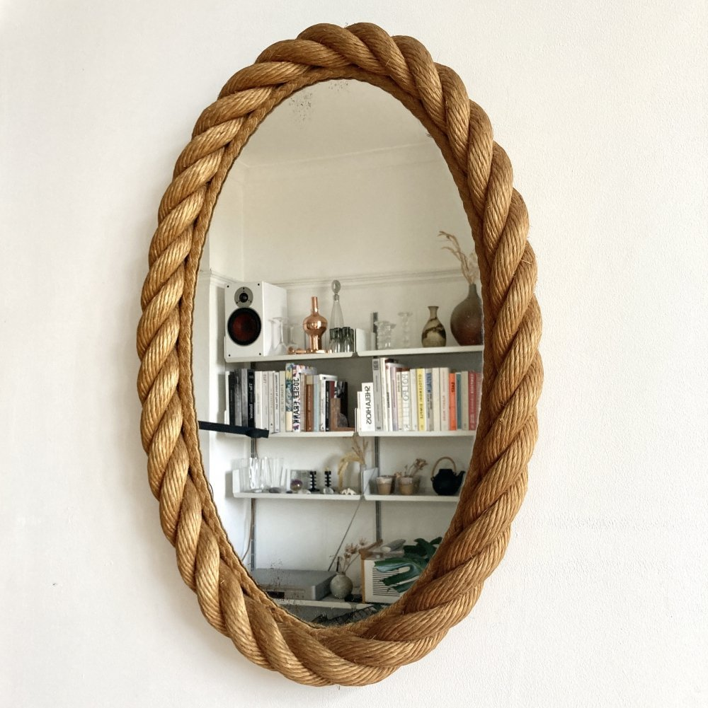 Elliptical rope mirror by Audoux & Minet, France 1950-60