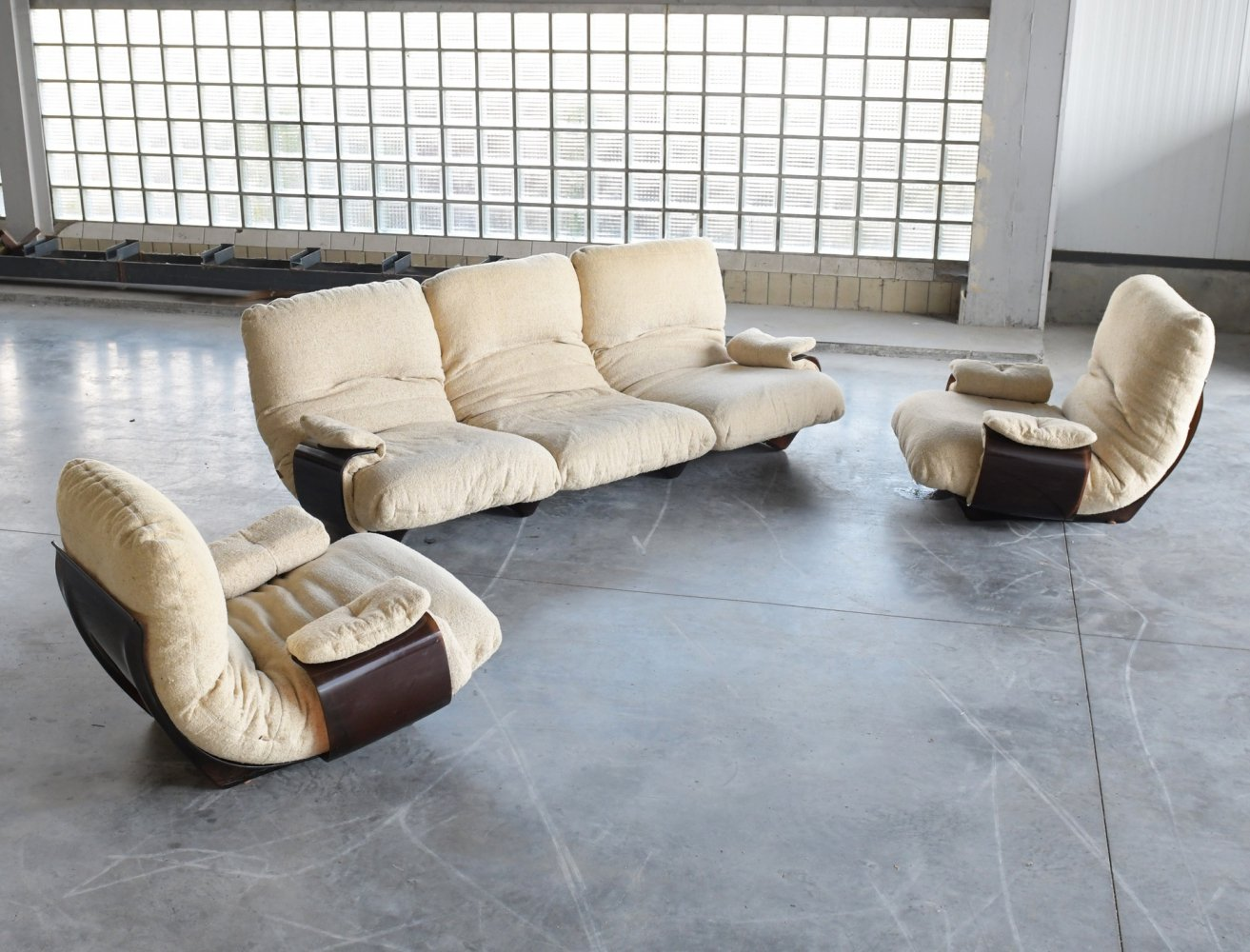 Original boucle fabric Marsala seating group by Michel Ducaroy for Ligne Roset, 1970s